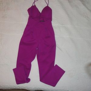 Fun Sexy Cut Out Jumpsuit Fuschia Sz Sm